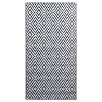 vidaXL Χαλί Εξωτερικού Χώρου Ασπρόμαυρο 120x180 εκ. από Πολυπροπυλένιο