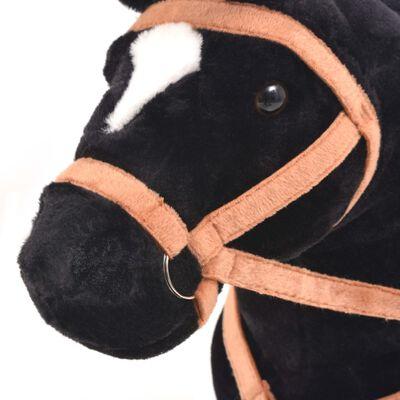 vidaXL Παιχνίδι Άλογο σε Όρθια Στάση Μαύρο Λούτρινο