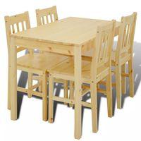 Ξύλινη Τραπεζαρία με 4 Καρέκλες Φυσικό Χρώμα