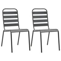 vidaXL Καρέκλες Κήπου Στοιβαζόμενες 2 τεμ. Γκρι Ατσάλινες