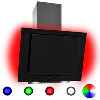 vidaXL Απορροφητήρας Τοίχου RGB LED 60 εκ. Ανοξ. Ατσάλι & Ψημένο Γυαλί