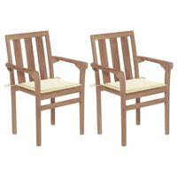 vidaXL Καρέκλες Κήπου 2 τεμ. από Μασίφ Ξύλο Teak με Κρεμ Μαξιλάρια