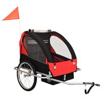 vidaXL Τρέιλερ Ποδηλάτου Παιδιών & Καροτσάκι 2 σε 1 Μαύρο και Κόκκινο