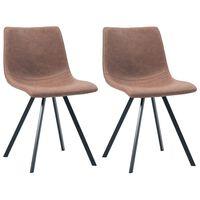 vidaXL Καρέκλες Τραπεζαρίας 2 τεμ. Μεσαίο Καφέ από Συνθετικό Δέρμα