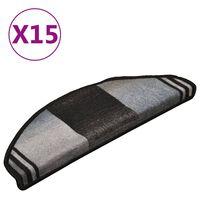 vidaXL Πατάκια Σκάλας Αυτοκόλλητα 15 τεμ. Μαύρο/Γκρι 65 x 21 x 4 εκ.