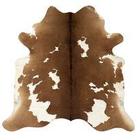 vidaXL Χαλί Καφέ / Λευκό 150 x 170 εκ. από Γνήσιο Δέρμα Αγελάδας