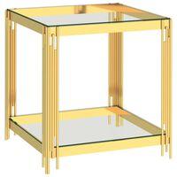 vidaXL Τραπέζι Σαλονιού Χρυσό 55x55x55 εκ. από Ανοξ. Ατσάλι και Γυαλί