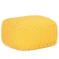vidaXL Πουφ Πλεκτό Χειροποίητο Κίτρινο Μουσταρδί 50x50x30 εκ Βαμβακερό