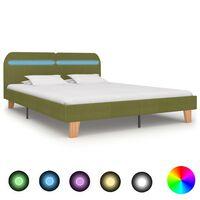 vidaXL Πλαίσιο Κρεβατιού με LED Πράσινο 160 x 200 εκ. Υφασμάτινο