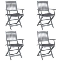 vidaXL Καρέκλες Εξωτ. Χώρου Πτυσσόμενες 4 τεμ Ξύλο Ακακίας & Μαξιλάρια