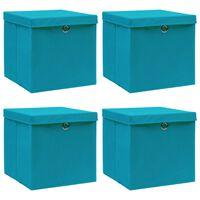 vidaXL Κουτιά Αποθήκευσης με Καπάκια 4 τεμ. Γαλάζια 32x32x32 εκ Ύφασμα