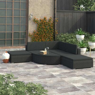 vidaXL Σαλόνι Κήπου 6 Τεμαχίων Μαύρο από Συνθετικό Ρατάν με Μαξιλάρια