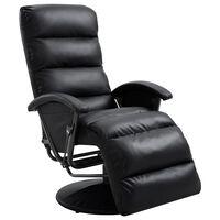 vidaXL Πολυθρόνα Ανακλινόμενη Μαύρη από Συνθετικό Δέρμα