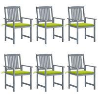 vidaXL Καρέκλες Κήπου 6 τεμ. Γκρι από Μασίφ Ξύλο Ακακίας με Μαξιλάρια