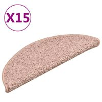 vidaXL Πατάκια Σκάλας Μοκέτα 15 τεμ. Ανοιχτό Ροζ 56 x 17 x 3 εκ.