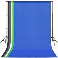 vidaXL Κιτ Στούντιο με 5 Χρωματιστά Φόντα & Ρυθμιζόμενη Βάση Στήριξης