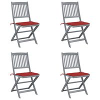vidaXL Καρέκλες Εξωτ. Χώρου Πτυσ. 4 τεμ Μασίφ Ξύλο Ακακίας & Μαξιλάρια