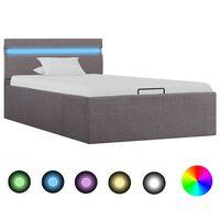 vidaXL Πλαίσιο Κρεβατιού με Αποθ. Χώρο/LED Taupe 100x200 εκ. Ύφασμα