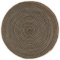vidaXL Χαλί Χειροποίητο με Μαύρο Σπιράλ Σχέδιο 90 εκ. από Γιούτα