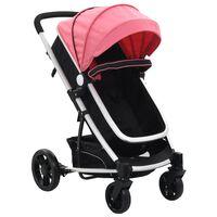 vidaXL Καροτσάκι Παιδικό/Πορτ-Μπεμπέ 2 σε 1 Ροζ και Μαύρο Αλουμινίου