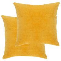 vidaXL Μαξιλάρια 2 τεμ. Κίτρινα 45 x 45 εκ. από Βαμβακερό Βελούδο