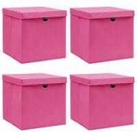 vidaXL Κουτιά Αποθήκευσης με Καπάκια 4 τεμ. Ροζ 32x32x32 εκ. Ύφασμα