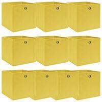 vidaXL Κουτιά Αποθήκευσης 10 τεμ. Κίτρινα 32 x 32 x 32 εκ. από Ύφασμα