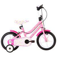 vidaXL Ποδήλατο Παιδικό Λευκό / Ροζ 12 Ιντσών