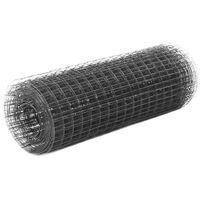 vidaXL Συρματόπλεγμα Τετράγωνο Γκρι 25x0,5 μ. Ατσάλι με Επικάλυψη PVC