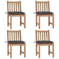 vidaXL Καρέκλες Κήπου 4 τεμ. από Μασίφ Ξύλο Teak με Μαξιλάρια