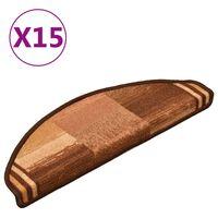 vidaXL Πατάκια Σκάλας Αυτοκόλλητα 15 τεμ. Καφέ 65 x 21 x 4 εκ.