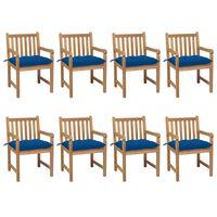 vidaXL Καρέκλες Κήπου 8 Τεμαχίων από Μασίφ Ξύλο Teak με Μπλε Μαξιλάρια
