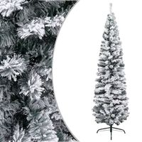 vidaXL Χριστουγεννιάτικο Δέντρο Slim Χιονισμένο Πράσινο 180 εκ. PVC