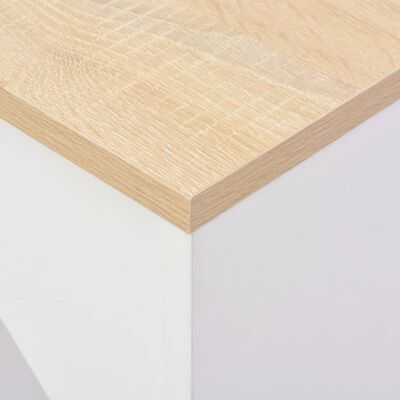 vidaXL Τραπέζι Μπαρ με Κινητή Ραφιέρα Λευκό 138 x 39 x 110 εκ.