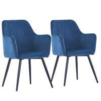 vidaXL Καρέκλες Τραπεζαρίας 2 τεμ. Μπλε Βελούδινες