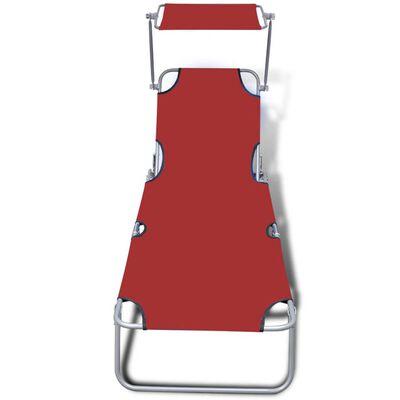 vidaXL Ξαπλώστρα Πτυσσόμενη Κόκκινη από Ατσάλι/Ύφασμα με Σκίαστρο