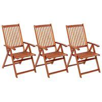 vidaXL Καρέκλες Κήπου Πτυσσόμενες 3 τεμ. από Μασίφ Ξύλο Ακακίας