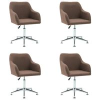 vidaXL Καρέκλες Τραπεζαρίας Περιστρεφόμενες 4 τεμ. Καφέ Υφασμάτινες
