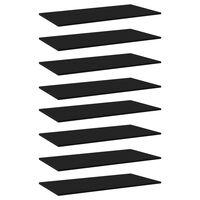 vidaXL Ράφια Βιβλιοθήκης 8 τεμ. Μαύρα 80x20x1,5 εκ. από Μοριοσανίδα