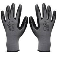 vidaXL Γάντια Εργασίας Νιτριλίου 24 Ζεύγη Γκρι/Μαύρο Μέγεθος 9/L