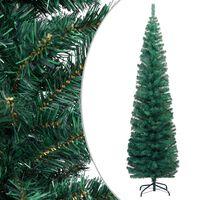 vidaXL Χριστουγεννιάτικο Δέντρο Slim με Βάση Πράσινο 210 εκ. PVC
