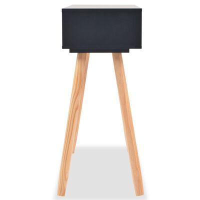 vidaXL Τραπέζι Κονσόλα Μαύρο 80 x 30 x 72 εκ. από Μασίφ Ξύλο Πεύκου