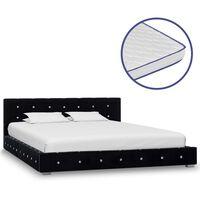 vidaXL Κρεβάτι Μαύρο 140 x 200 εκ. Βελούδινο με Στρώμα Αφρού Μνήμης