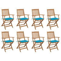 vidaXL Καρέκλες Εξ. Χώρου Πτυσσόμενες 8 τεμ. Ξύλο Ακακίας & Μαξιλάρια