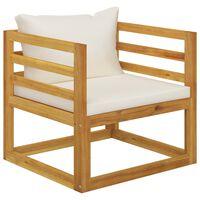 vidaXL Καρέκλα Κήπου από Μασίφ Ξύλο Ακακίας με Κρεμ Μαξιλάρια