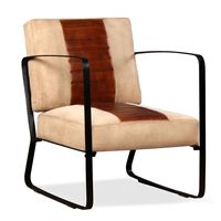 vidaXL Πολυθρόνα Καφέ από Γνήσιο Δέρμα και Καμβά