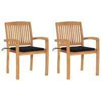 vidaXL Καρέκλες Κήπου 2 τεμ. από Μασίφ Ξύλο Teak με Μαύρα Μαξιλάρια