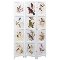 vidaXL Διαχωριστικό Δωματίου με 5 Πάνελ Λευκό 175 x 165 εκ. Πουλιά