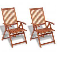 vidaXL Καρέκλες Κήπου Πτυσσόμενες 2 τεμ. Καφέ από Μασίφ Ξύλο Ακακίας
