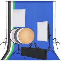 vidaXL Κιτ Στούντιο Φωτογράφισης: 5 Χρωματιστά Φόντα & 2 Softbox